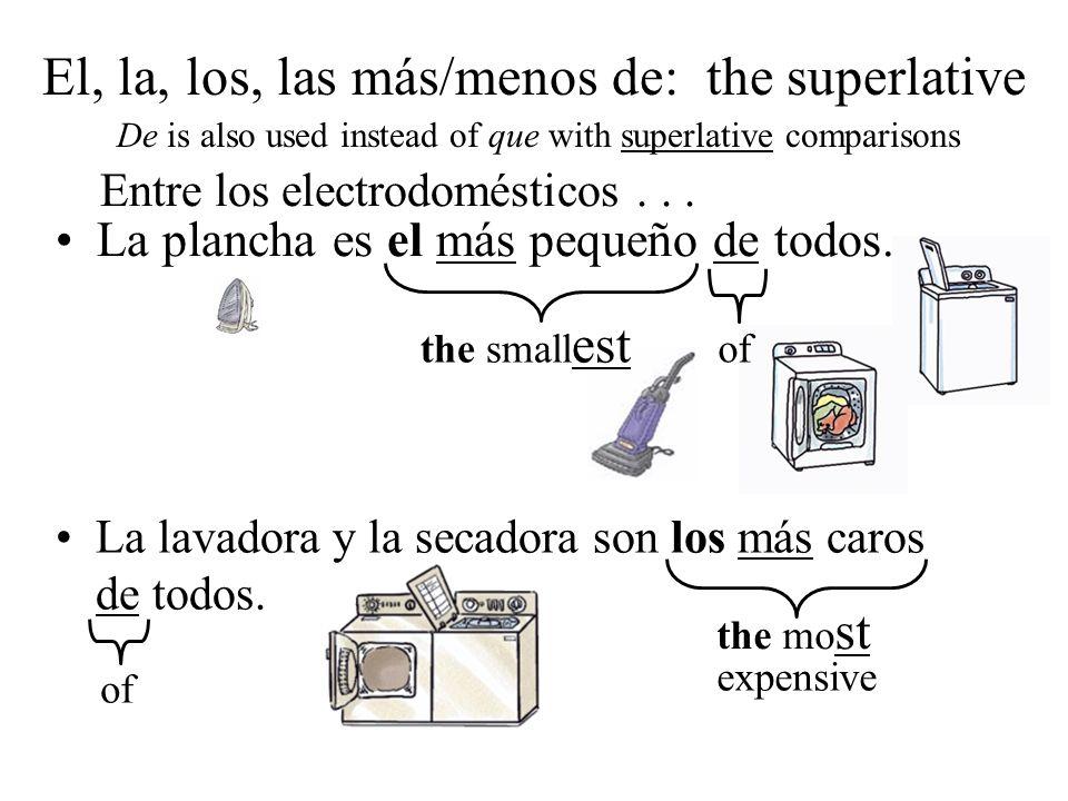 El, la, los, las más/menos de: the superlative