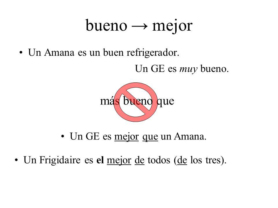 bueno → mejor más bueno que Un Amana es un buen refrigerador.