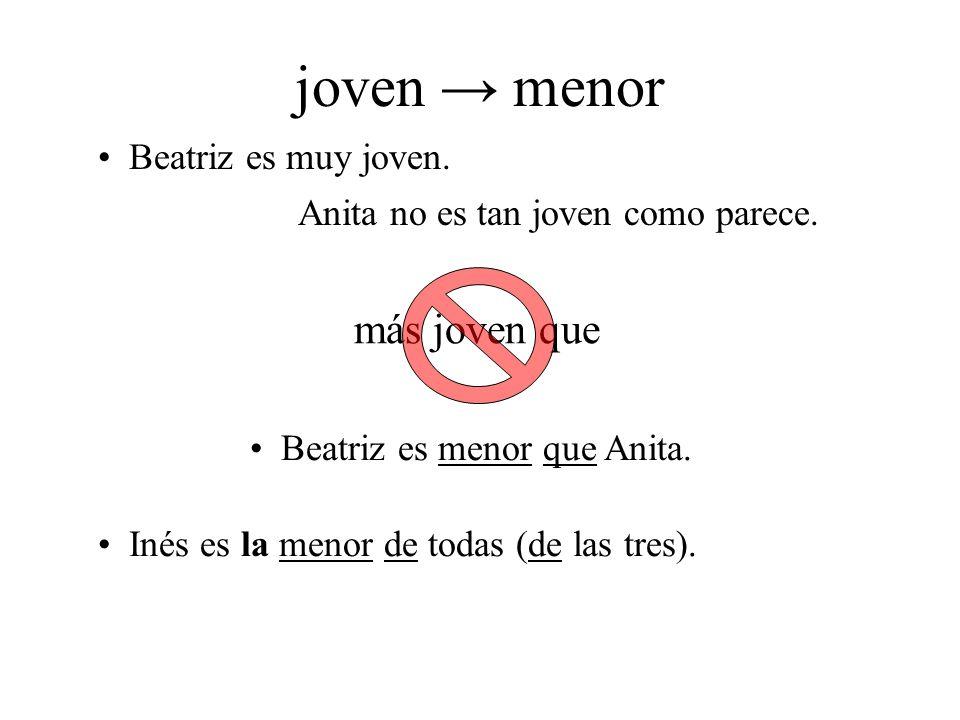 joven → menor más joven que Beatriz es muy joven.