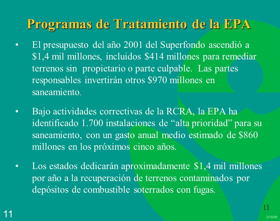 Programas de Tratamiento de la EPA