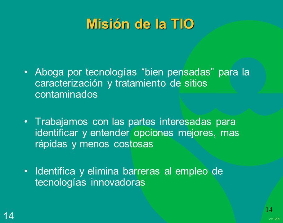 Misión de la TIO Aboga por tecnologías bien pensadas para la caracterización y tratamiento de sitios contaminados.