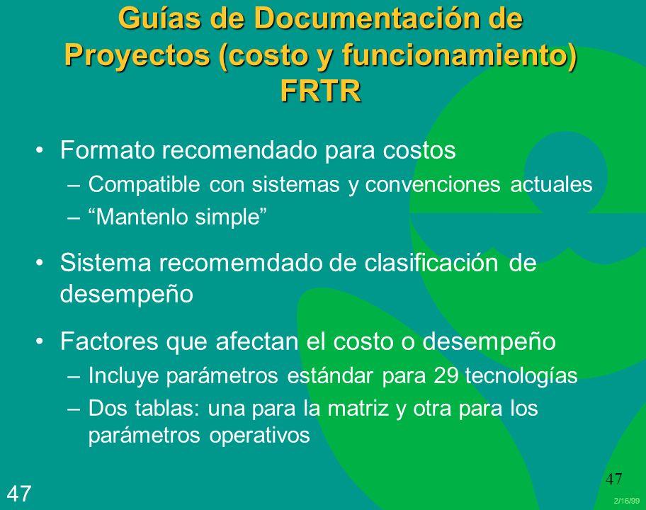 Guías de Documentación de Proyectos (costo y funcionamiento) FRTR