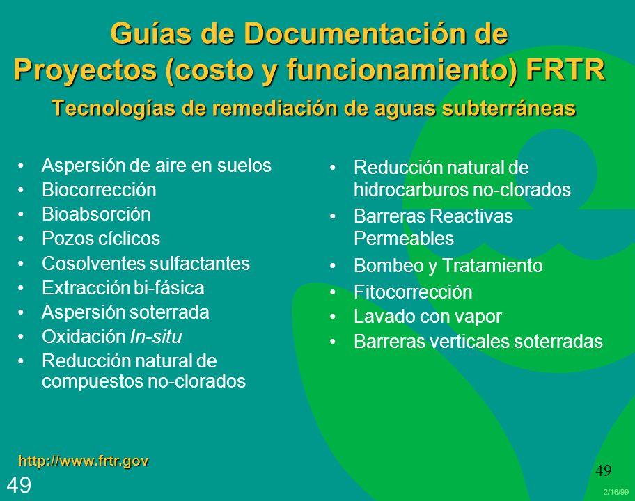 Guías de Documentación de Proyectos (costo y funcionamiento) FRTR Tecnologías de remediación de aguas subterráneas