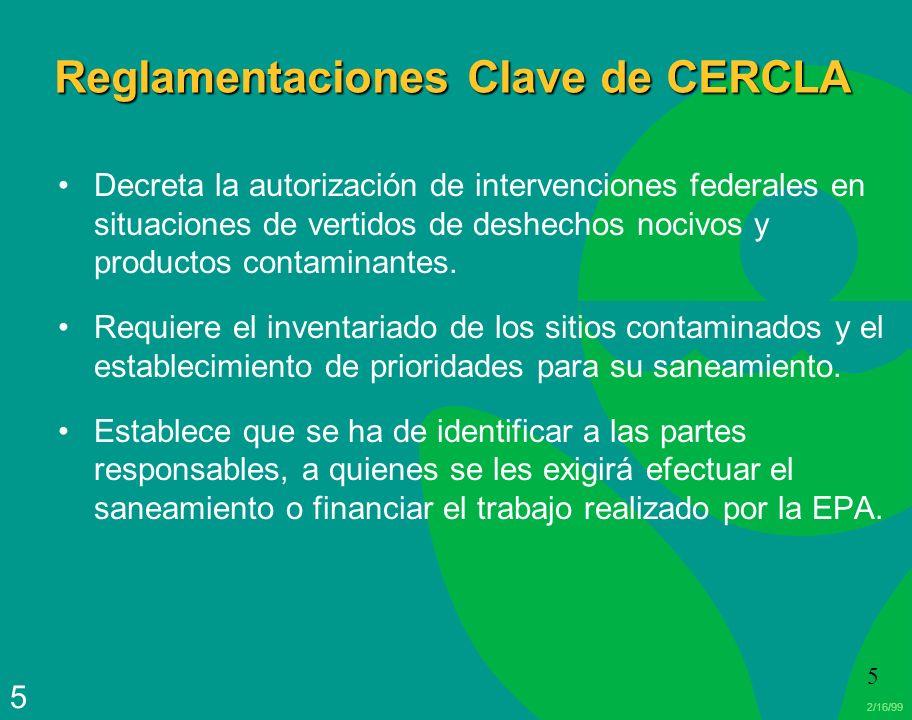 Reglamentaciones Clave de CERCLA