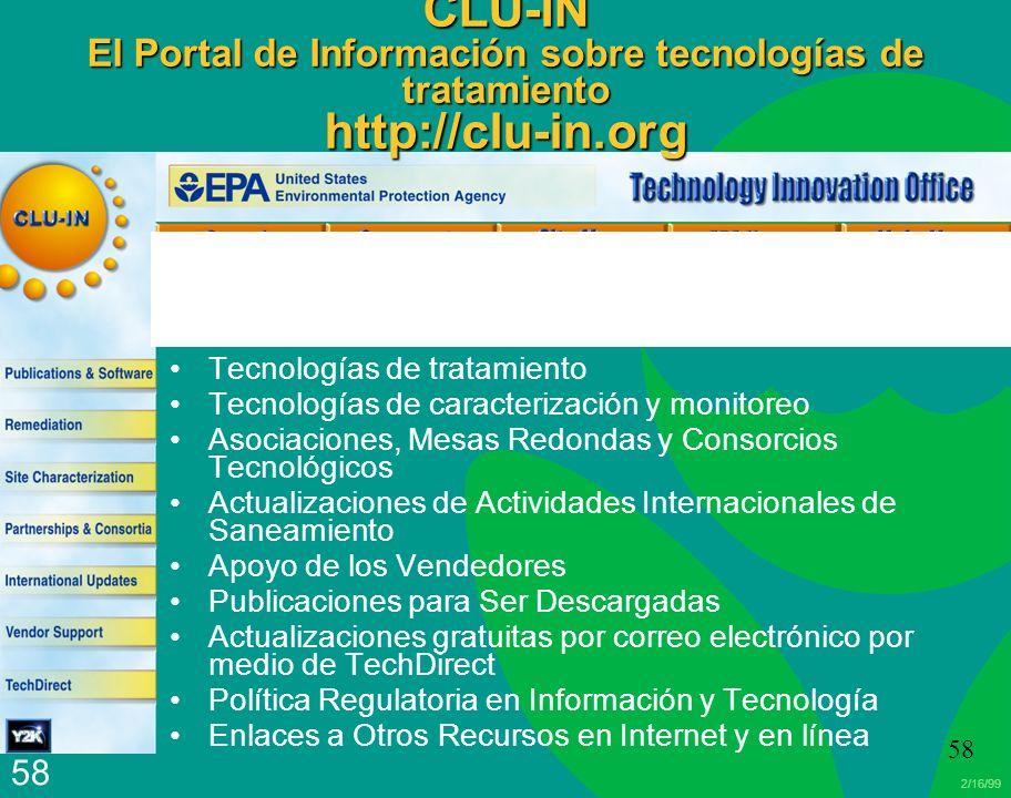 CLU-IN El Portal de Información sobre tecnologías de tratamiento http://clu-in.org