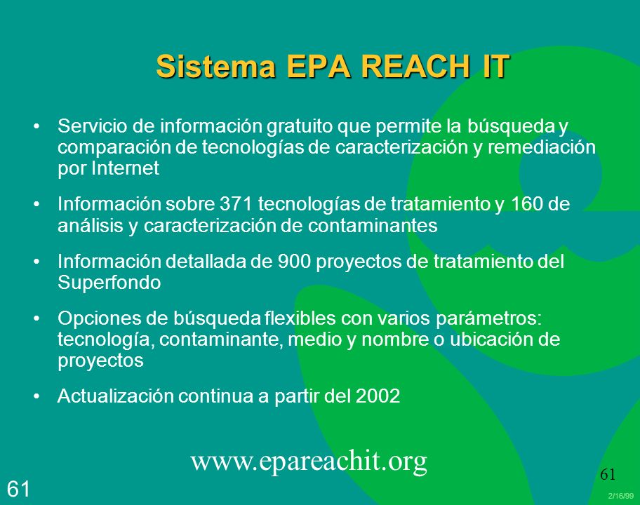 Sistema EPA REACH IT www.epareachit.org