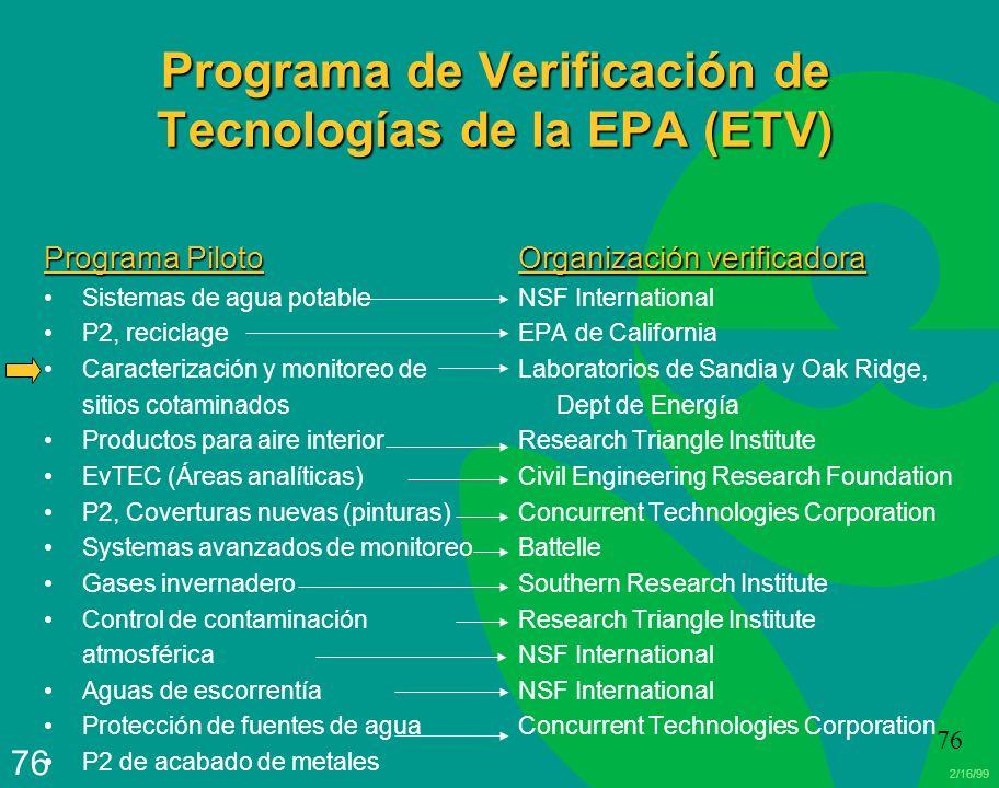 Programa de Verificación de Tecnologías de la EPA (ETV)