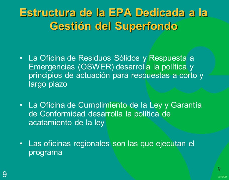 Estructura de la EPA Dedicada a la Gestión del Superfondo