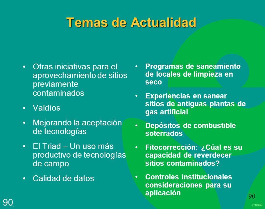 Temas de Actualidad Otras iniciativas para el aprovechamiento de sitios previamente contaminados. Valdíos.