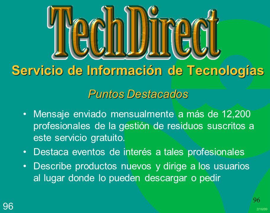 Servicio de Información de Tecnologías Puntos Destacados