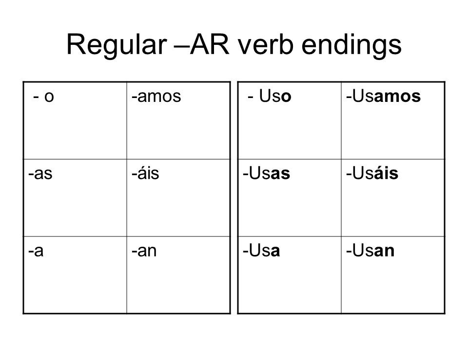Regular –AR verb endings