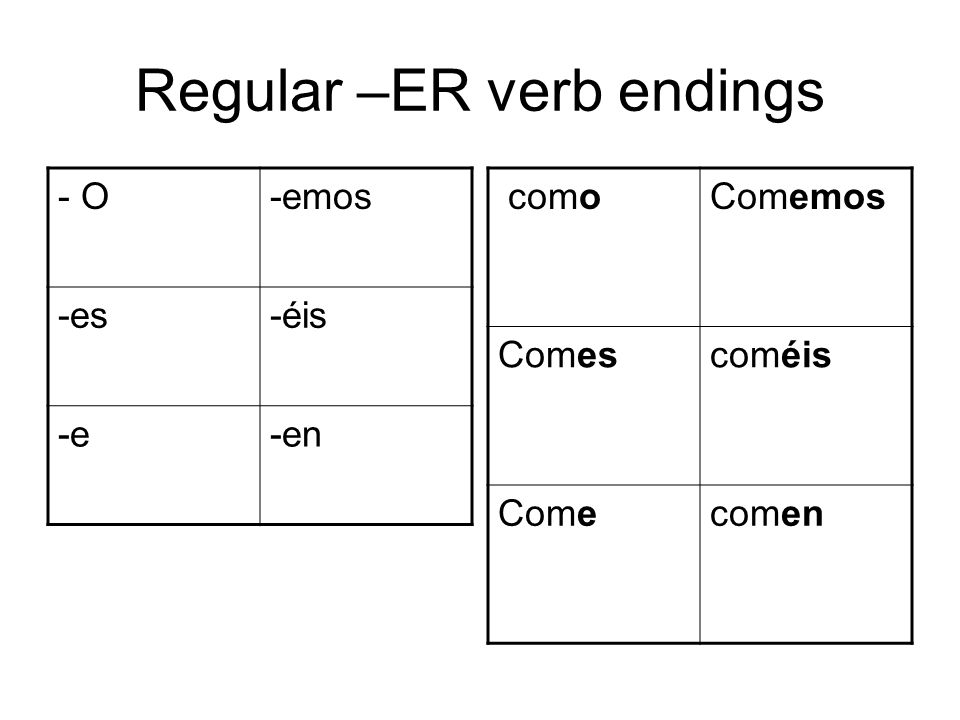 Regular –ER verb endings