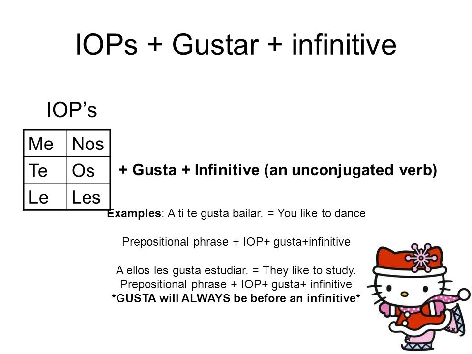 IOPs + Gustar + infinitive