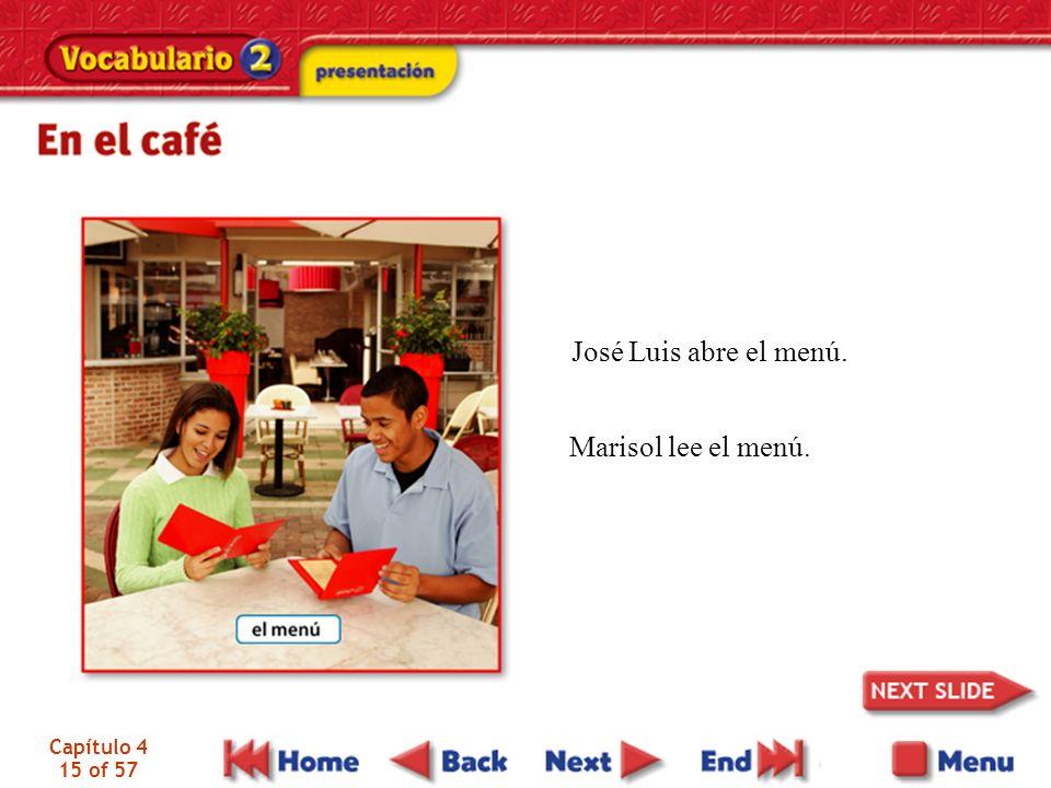 José Luis abre el menú. Marisol lee el menú. Capítulo 4 15 of 57
