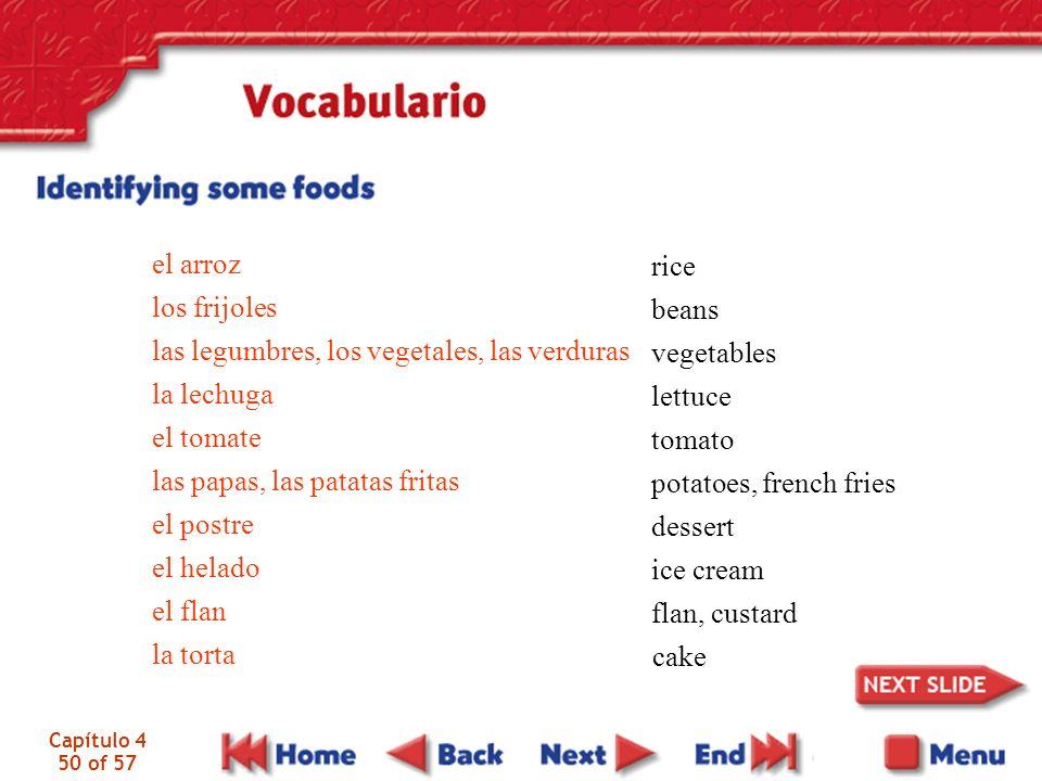 las legumbres, los vegetales, las verduras