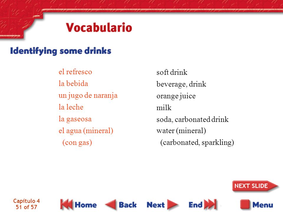 el agua (mineral) (con gas) soft drink