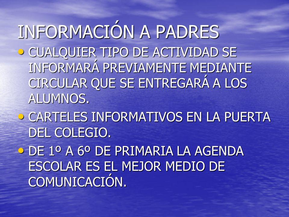 INFORMACIÓN A PADRES CUALQUIER TIPO DE ACTIVIDAD SE INFORMARÁ PREVIAMENTE MEDIANTE CIRCULAR QUE SE ENTREGARÁ A LOS ALUMNOS.