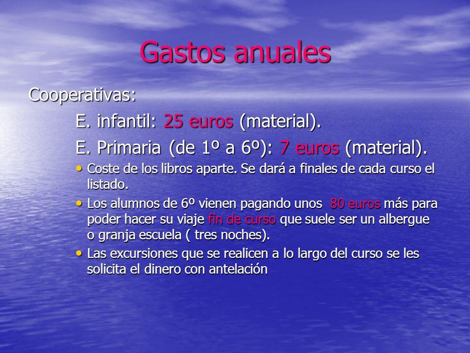 Gastos anuales Cooperativas: E. infantil: 25 euros (material).