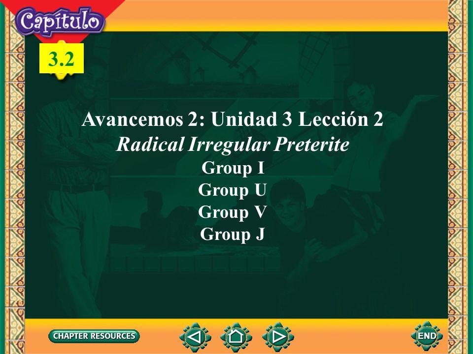 Avancemos 2: Unidad 3 Lección 2 Radical Irregular Preterite