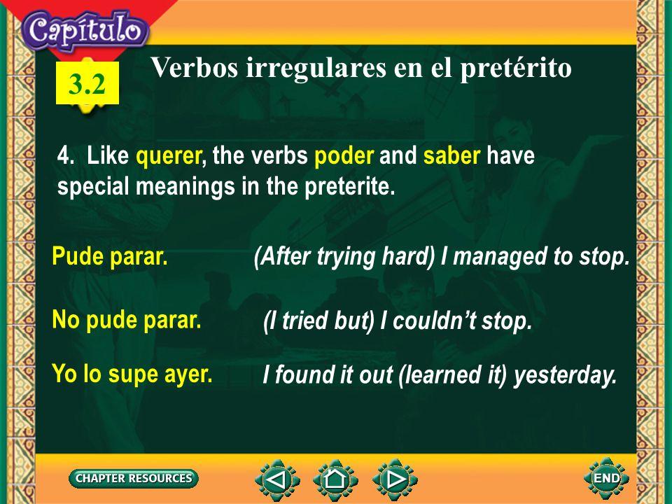 Verbos irregulares en el pretérito 3.2