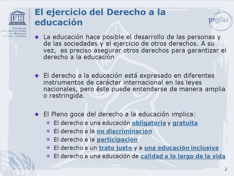 El ejercicio del Derecho a la educación