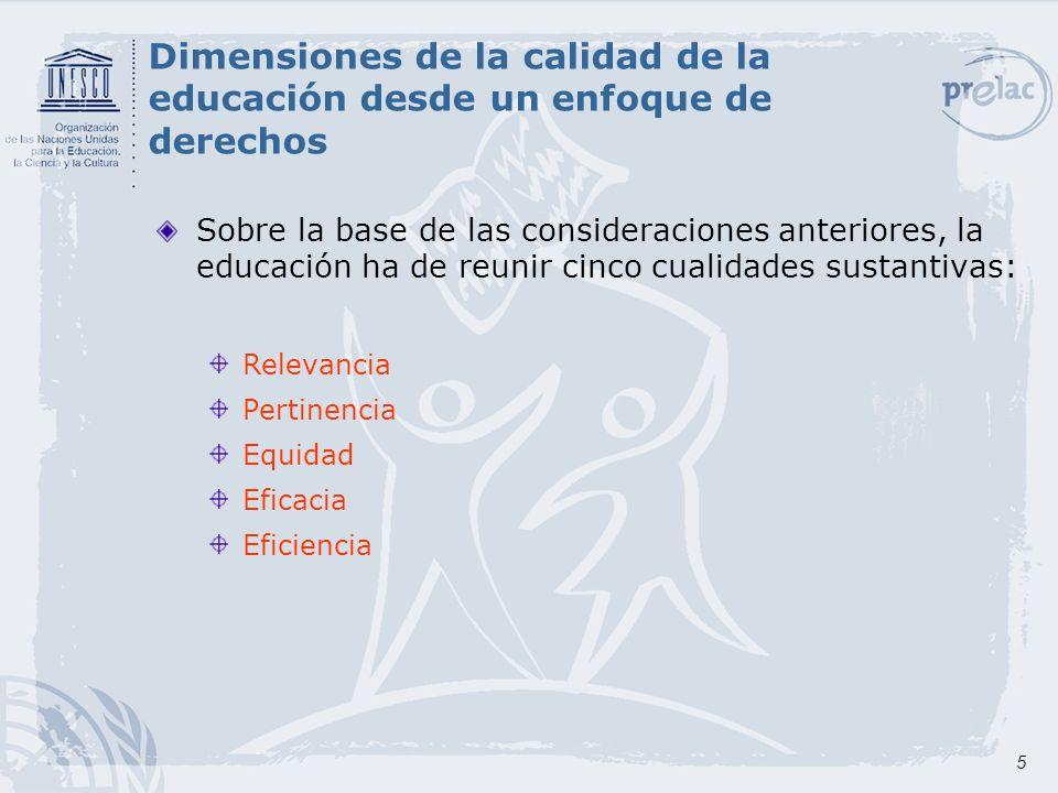 Dimensiones de la calidad de la educación desde un enfoque de derechos