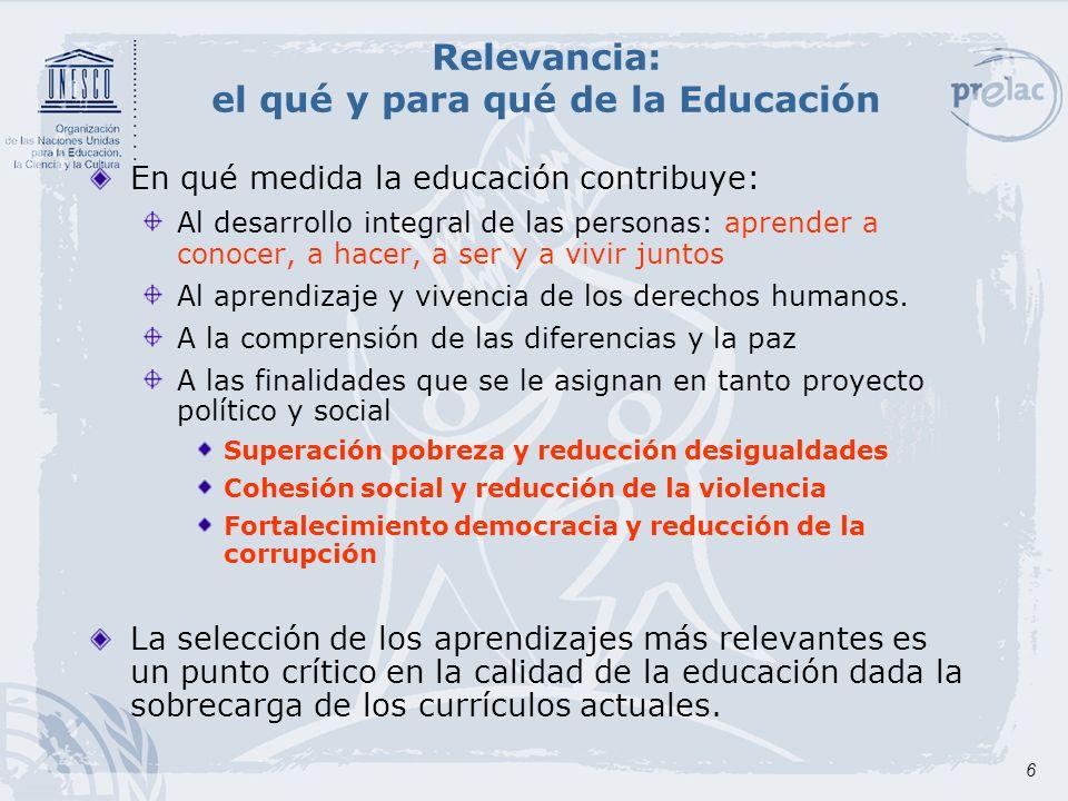 Relevancia: el qué y para qué de la Educación