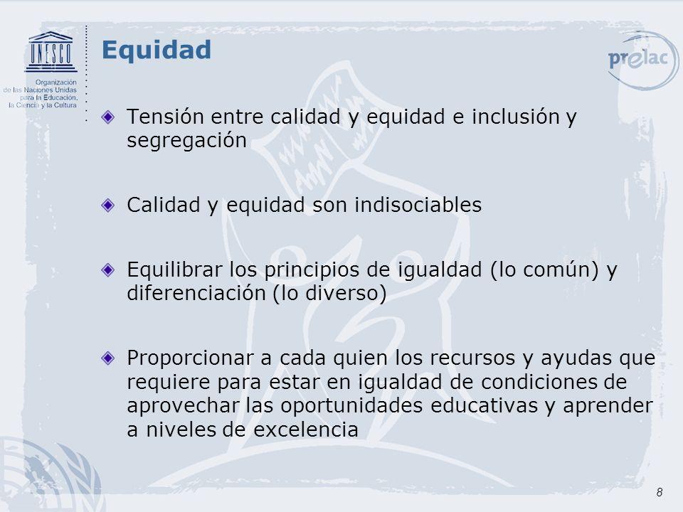 Equidad Tensión entre calidad y equidad e inclusión y segregación