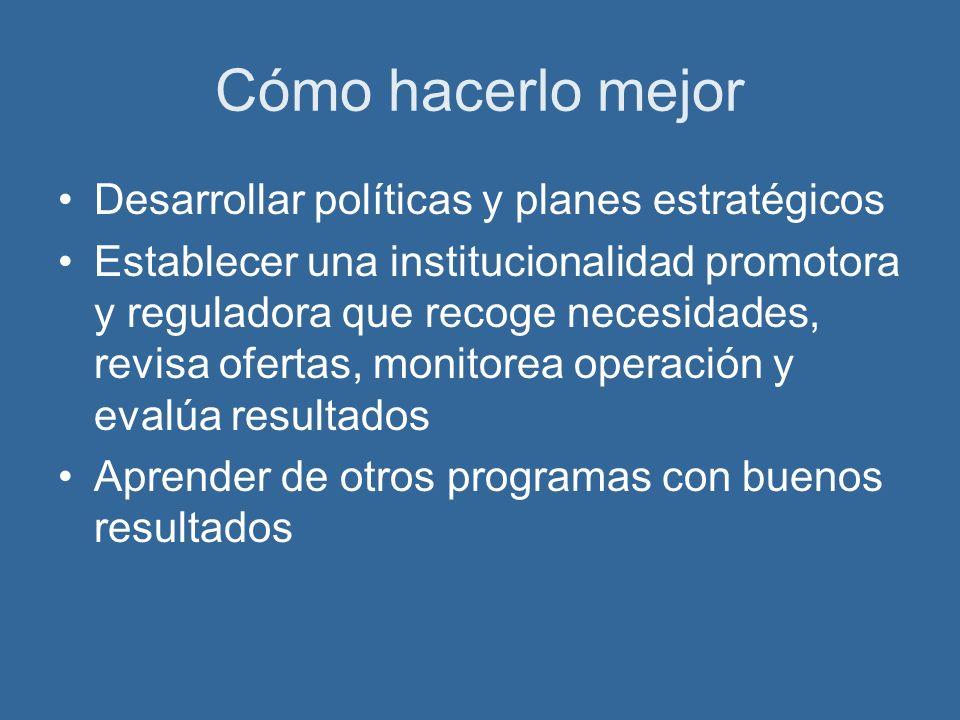 Cómo hacerlo mejor Desarrollar políticas y planes estratégicos