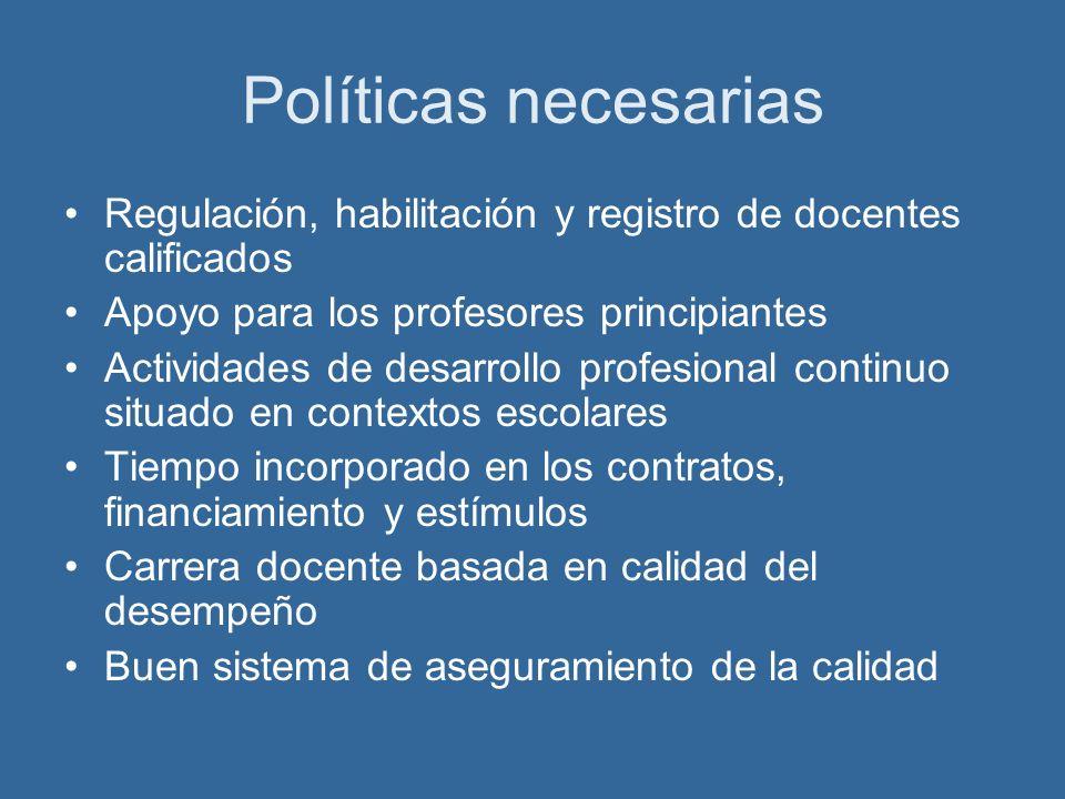 Políticas necesarias Regulación, habilitación y registro de docentes calificados. Apoyo para los profesores principiantes.