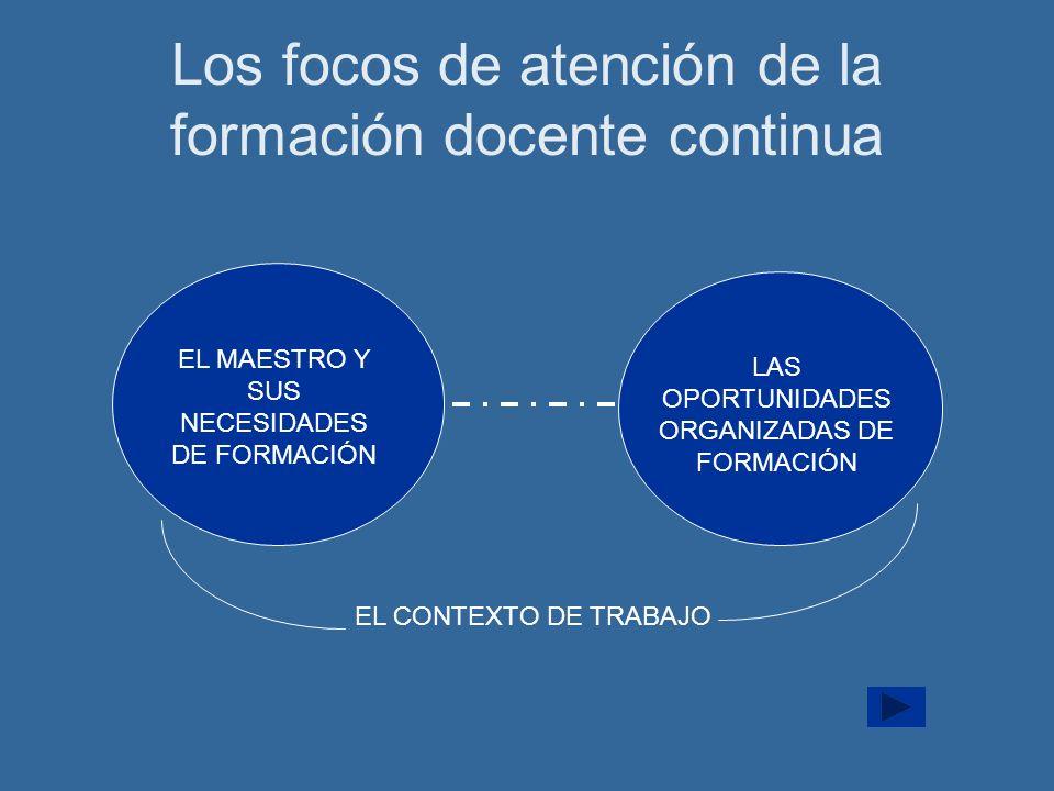 Los focos de atención de la formación docente continua