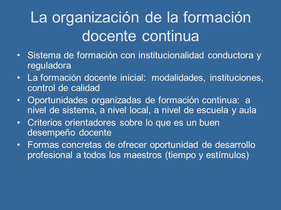 La organización de la formación docente continua