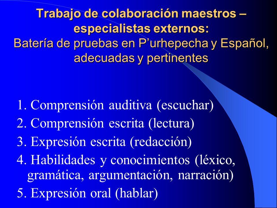 1. Comprensión auditiva (escuchar) 2. Comprensión escrita (lectura)