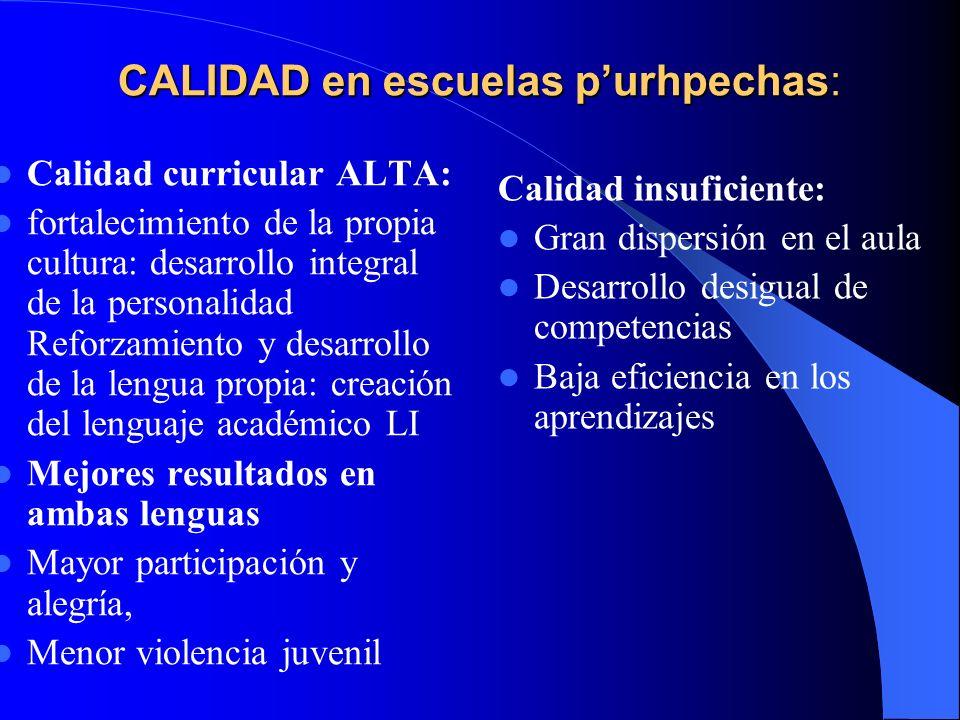CALIDAD en escuelas p'urhpechas: