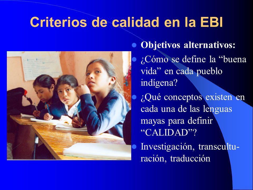 Criterios de calidad en la EBI