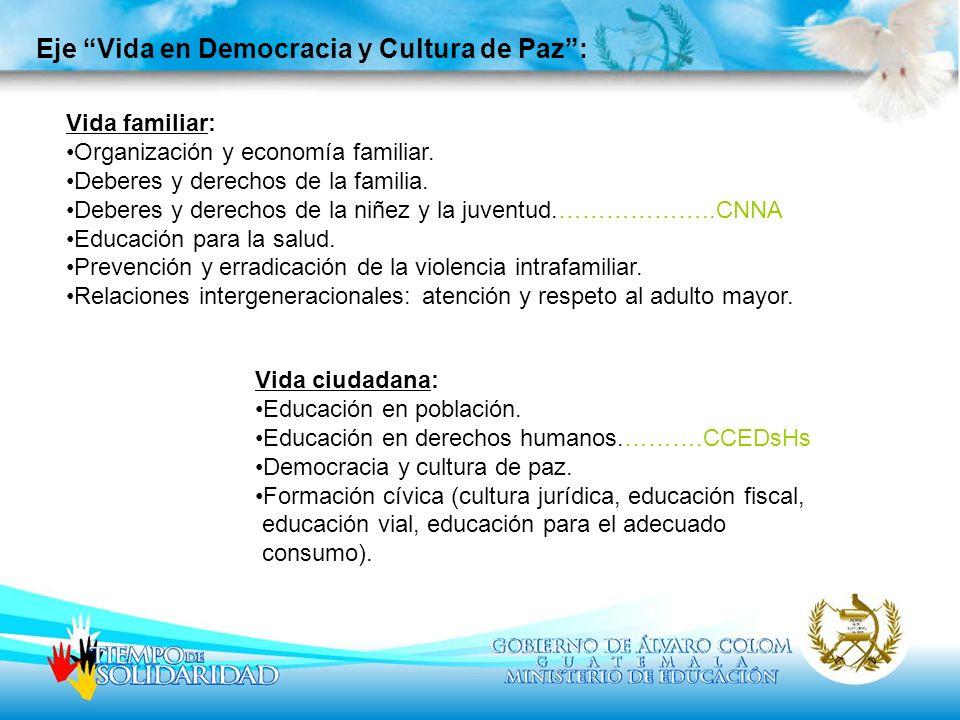 Eje Vida en Democracia y Cultura de Paz :