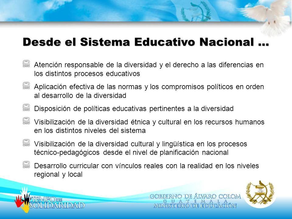 Desde el Sistema Educativo Nacional …