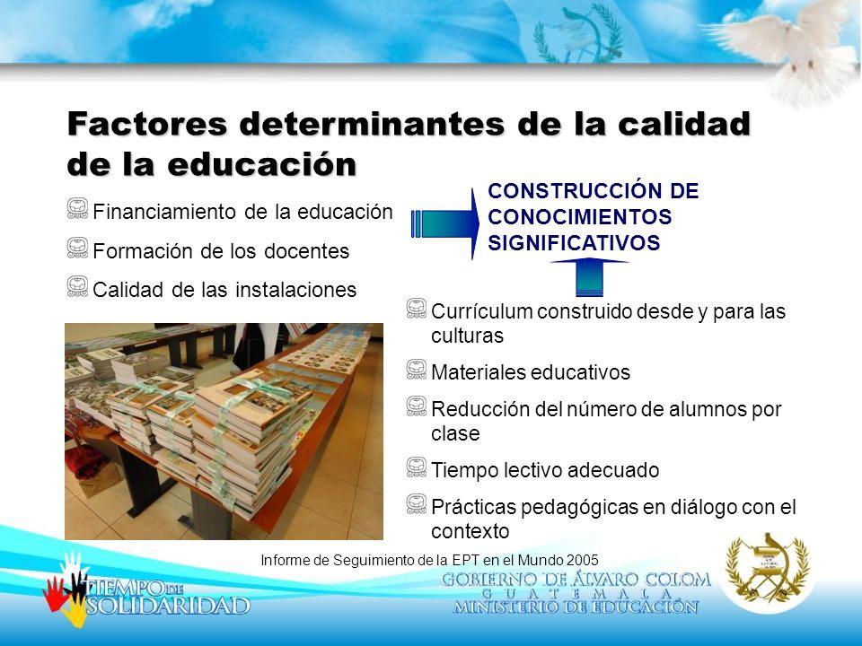 Factores determinantes de la calidad de la educación