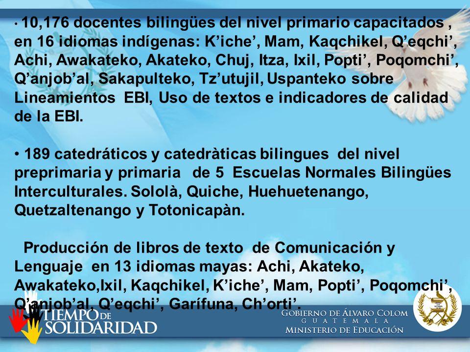 10,176 docentes bilingües del nivel primario capacitados , en 16 idiomas indígenas: K'iche', Mam, Kaqchikel, Q'eqchi', Achi, Awakateko, Akateko, Chuj, Itza, Ixil, Popti', Poqomchi', Q'anjob'al, Sakapulteko, Tz'utujil, Uspanteko sobre Lineamientos EBI, Uso de textos e indicadores de calidad de la EBI.