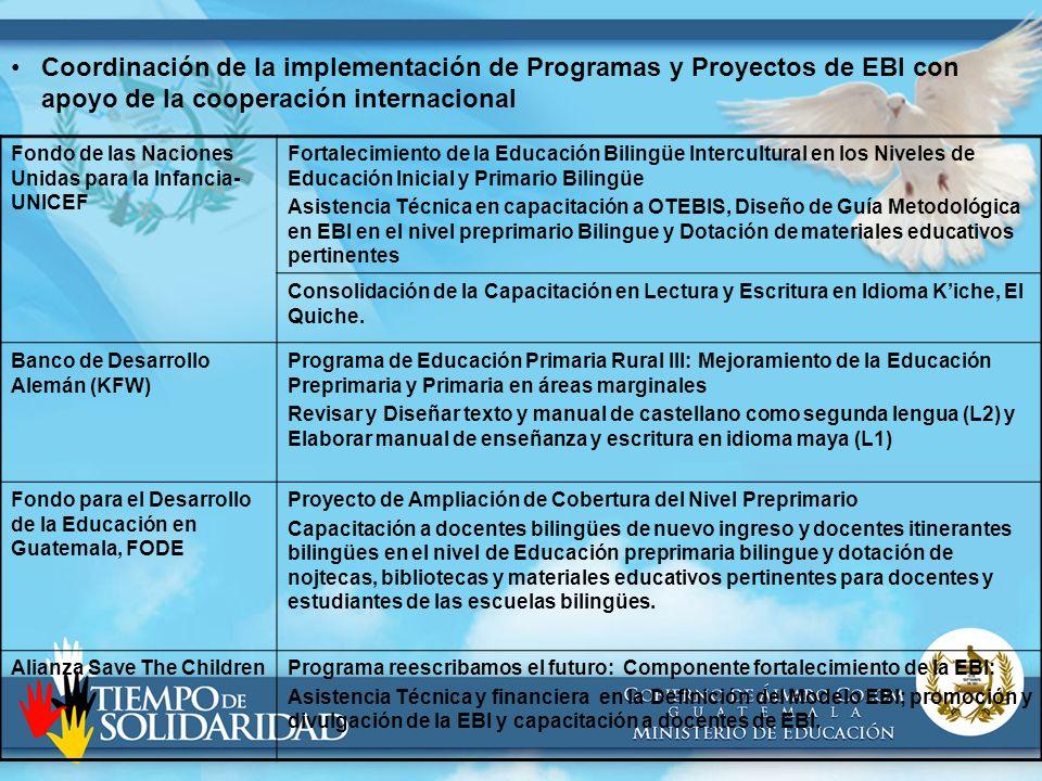 Coordinación de la implementación de Programas y Proyectos de EBI con apoyo de la cooperación internacional