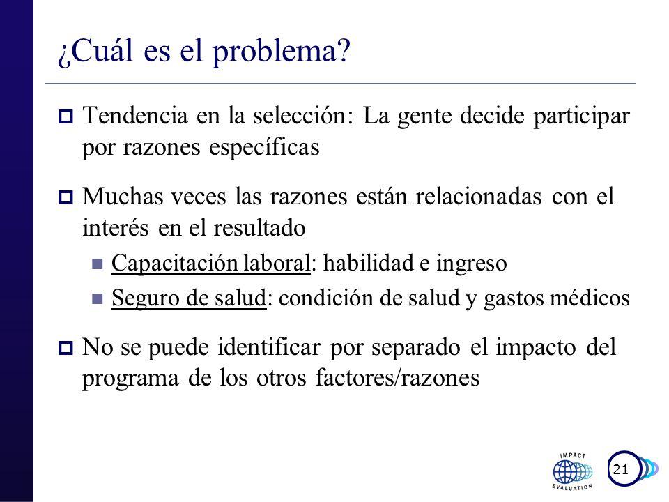 ¿Cuál es el problema Tendencia en la selección: La gente decide participar por razones específicas.
