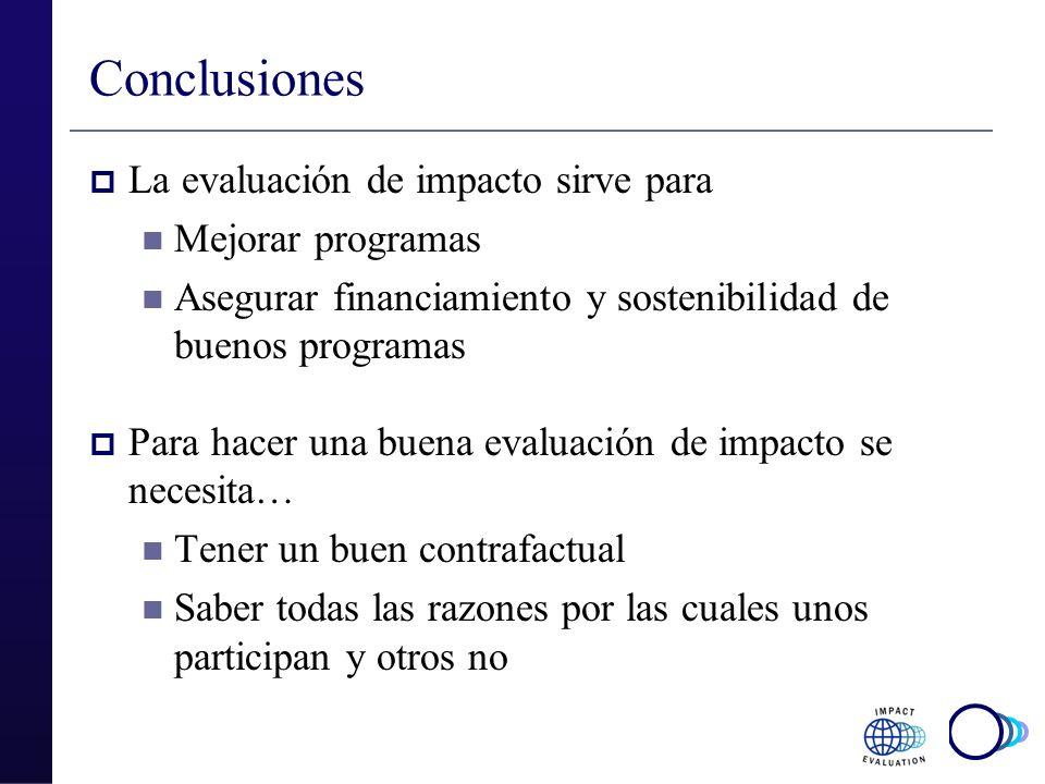 Conclusiones La evaluación de impacto sirve para Mejorar programas