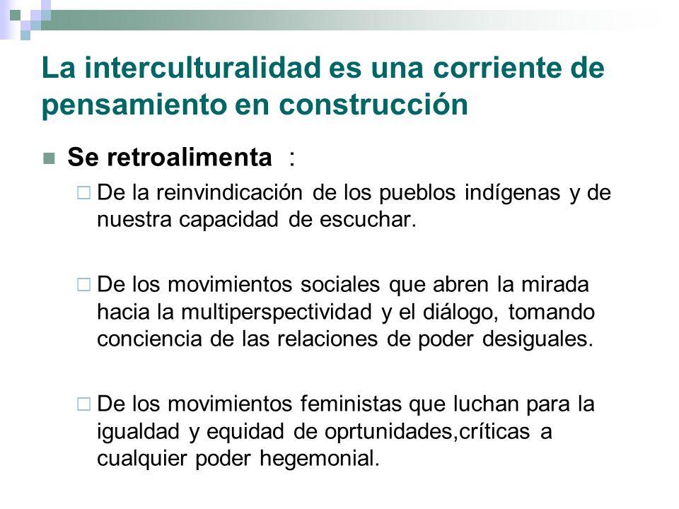 La interculturalidad es una corriente de pensamiento en construcción