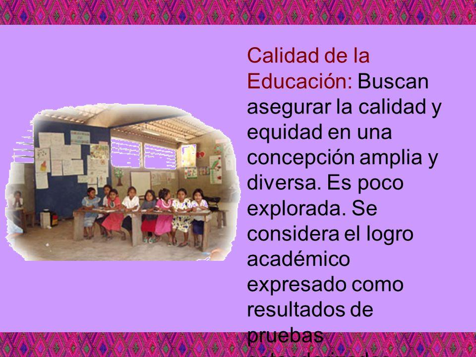 Calidad de la Educación: Buscan asegurar la calidad y equidad en una concepción amplia y diversa.