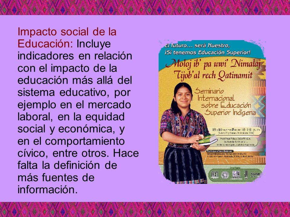 Impacto social de la Educación: Incluye indicadores en relación con el impacto de la educación más allá del sistema educativo, por ejemplo en el mercado laboral, en la equidad social y económica, y en el comportamiento cívico, entre otros.