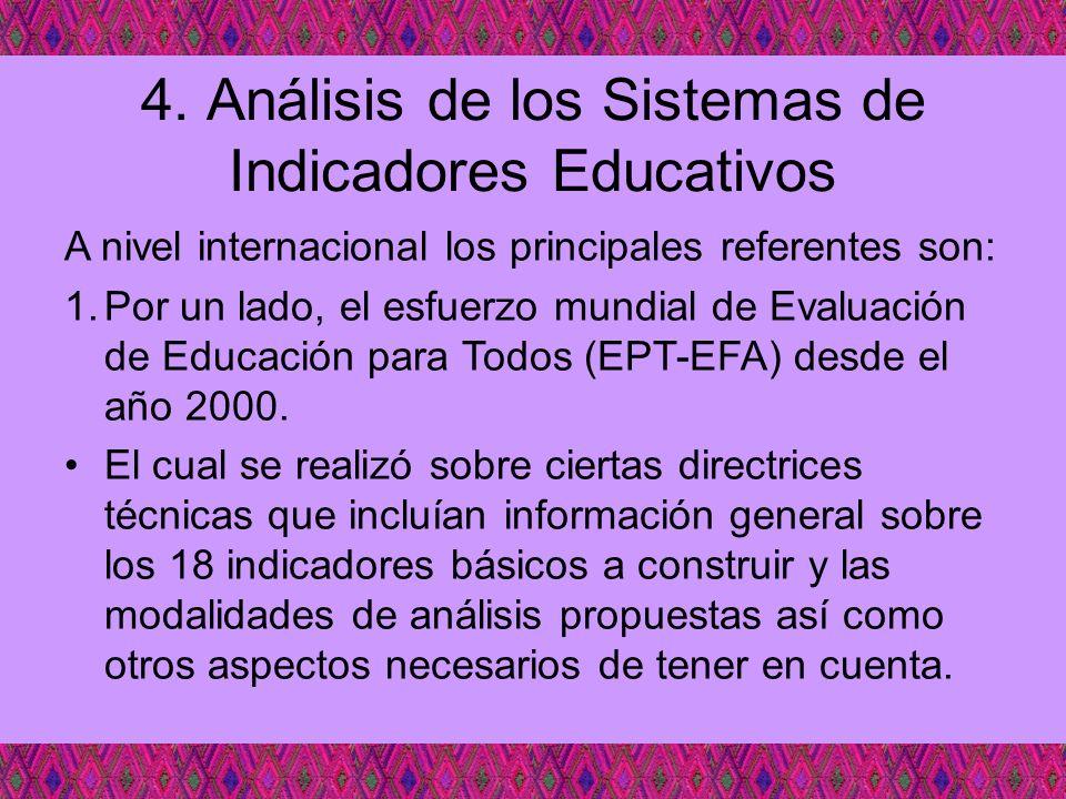 4. Análisis de los Sistemas de Indicadores Educativos