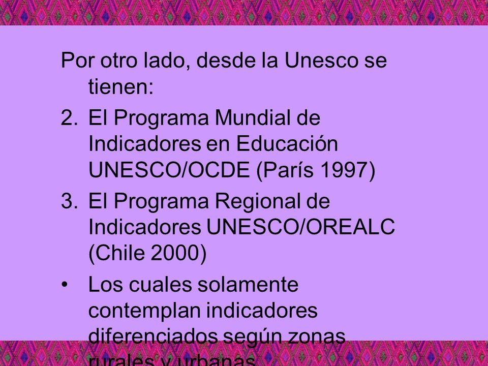 Por otro lado, desde la Unesco se tienen: