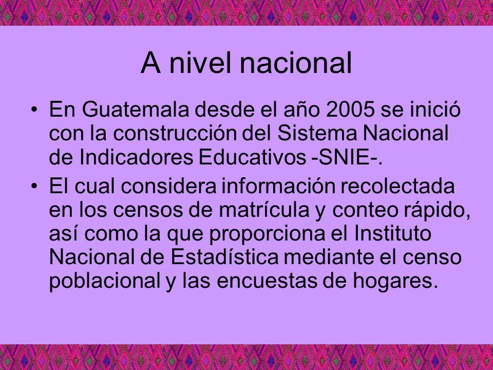 A nivel nacional En Guatemala desde el año 2005 se inició con la construcción del Sistema Nacional de Indicadores Educativos -SNIE-.