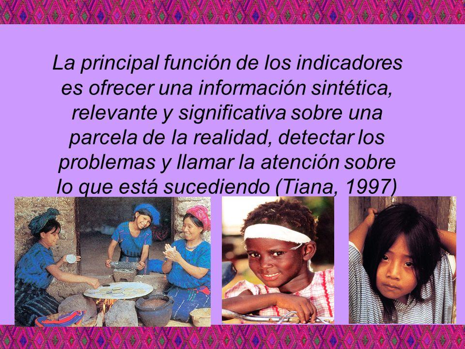 La principal función de los indicadores es ofrecer una información sintética, relevante y significativa sobre una parcela de la realidad, detectar los problemas y llamar la atención sobre lo que está sucediendo (Tiana, 1997)