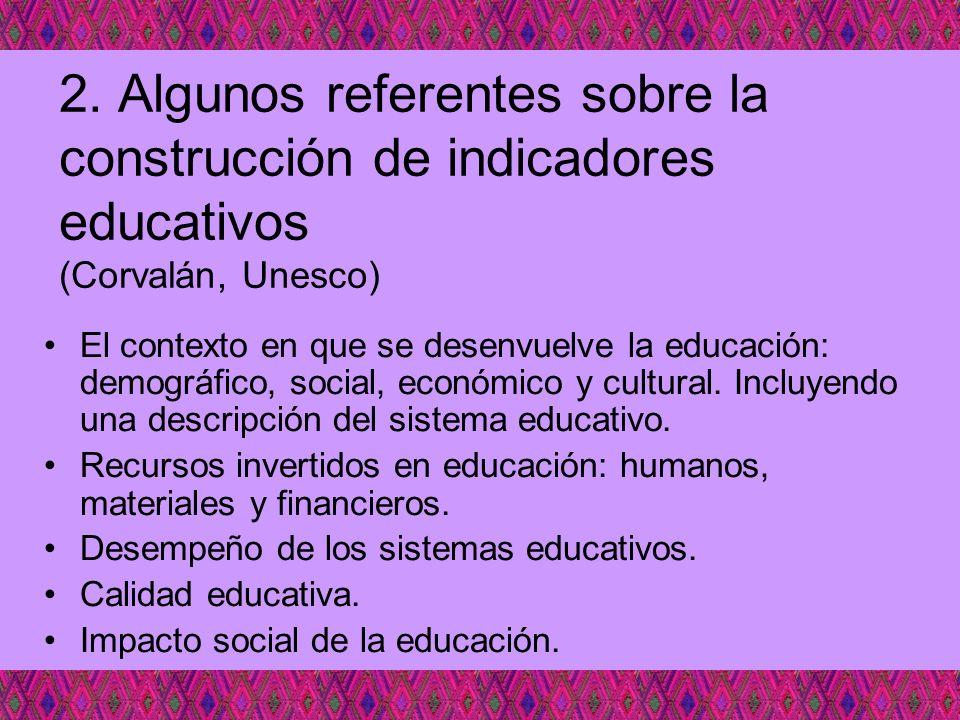 2. Algunos referentes sobre la construcción de indicadores educativos (Corvalán, Unesco)